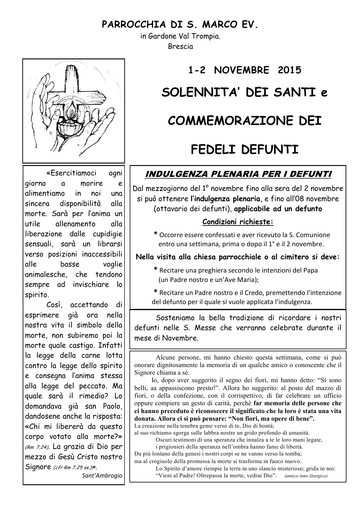 Indulgenze Plenarie Calendario.Parrocchia San Marco Gardone Vt